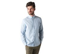 Langarm Hemd Regular Fit mit Leinen hellblau