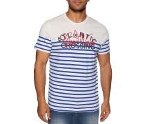Kurzarm T-Shirt offwhite/blau