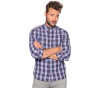 Langarm Hemd Regular Fit blau kariert