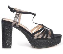 Plateau High Heels schwarz/silber
