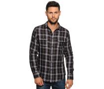 Langarm Hemd Regular Fit schwarz/grau