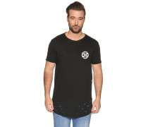 Kurzarm T-Shirt mit Rückenprint schwarz