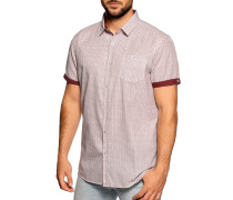 Kurzarmhemd bordeaux/weiß