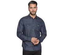 Langarm Hemd Custom Fit dunkelblau
