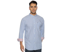 Langarm Hemd Relaxed Fit blau/weiß