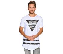 Kurzarm T-Shirt weiß/oliv