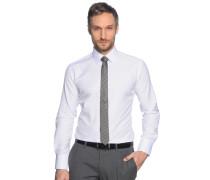 Hemd Slim Fit + Krawatte weiß/schwarz gestreift