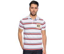 Kurzarm Poloshirt weiß/rot/navy