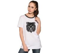 Kurzarm T-Shirt weiss/schwarz