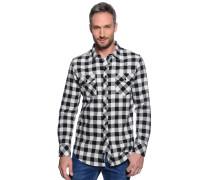 Langarm Flanellhemd Regular Fit schwarz/weiß/kariert