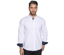 Langarm Hemd Regular Fit weiß/navy