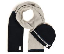 Schal+Mütze grau/navy