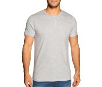 Kurzarm Henley Shirt grau meliert