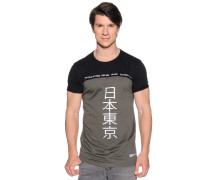 Kurzarm T-Shirt khaki/schwarz