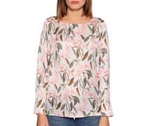 Langarm Blusenshirt weiß/rosa/grün