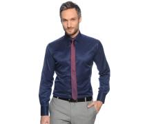Hemd Slim Fit + Krawatte navy