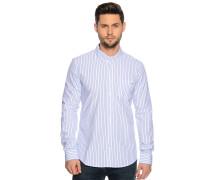 Langarm Hemd Custom Fit weiß/blau gestreift