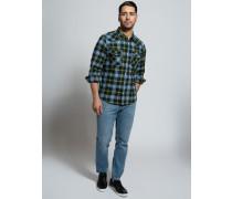Langarm Hemd Slim Fit blau/grün/gelb