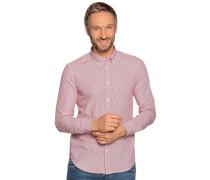 Langarm Hemd Slim Fit rot/weiß