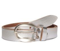 Ledergürtel silber metallic