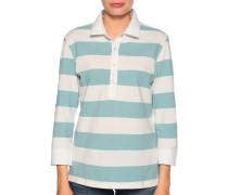 Langarm Poloshirt weiß/blau