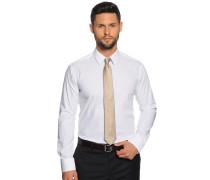 Hemd Slim Fit + Krawatte weiß/beige