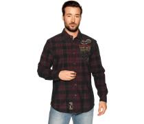 Langarm Hemd Custom Fit schwarz/rot
