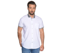 Kurzarmhemd Custom Fit weiß/grau