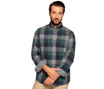 Langarm Hemd Custom Fit grau/blau/grün kariert