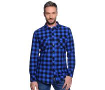 Langarm Flanellhemd Regular Fit blau/schwarz/kariert