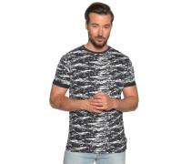 Kurzarm T-Shirt navy/weiß