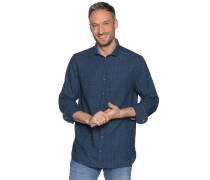 Langarm Hemd Custom Fit mit Leinen blau