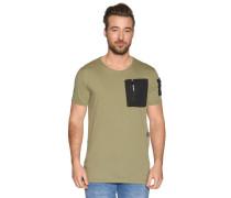 Kurzarm T-Shirt zipbare Brusttasche oliv