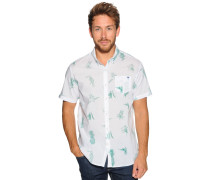 Kurzarmhemd Custom Fit weiß/grün