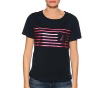 Kurzarm T-Shirt navy/pink