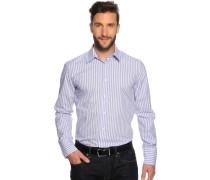 Langarm Hemd Slim Fit grau/weiß