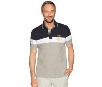 Kurzarm Poloshirt navy/weiß/grau meliert