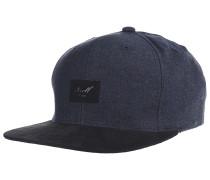 Suede 6-Panel Snapback Cap - Blau
