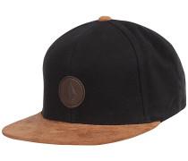 Quarter Fabric Snapback Cap - Schwarz