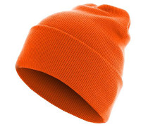 Beanie Basic Flap Long Version Mütze - Orange