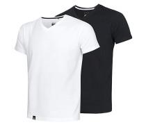 V Neck Double Pack - T-Shirt - Schwarz