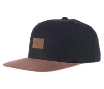 Suede 6-Panel Snapback Cap - Schwarz
