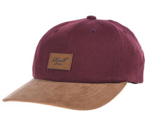 Curved Suede Snapback Cap - Rot