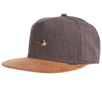 6P SB Metal Linen Snapback Cap - Braun