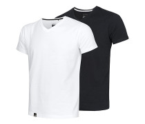 V Neck Double Pack - T-Shirt - Schwarz