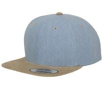 Chambray-Suede Snapback Cap - Grün