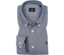 Hemd, Oxford, dunkelblau-weiß meliert