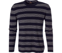 Pullover, Baumwolle, nachtblau gemustert