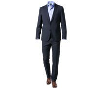 Anzug, Slim Fit, Schurwolle, dunkelblau