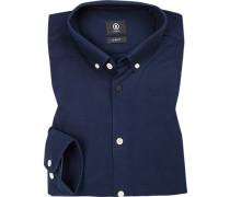 Hemd, Slim Fit, Baumwoll-Piqué, dunkelblau